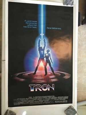 Original 1982 TRON SciFyi Movie Poster 27x42 Music by Journey NEAR MINT