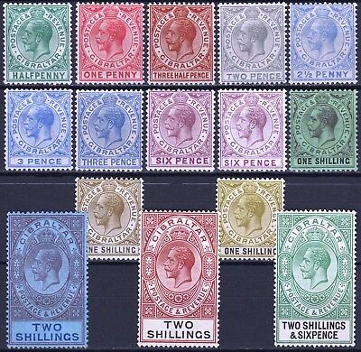 Gibraltar 1921 - 30 issues between, SG 88 - 109, Mint Hinged, CV £122