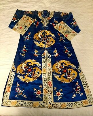 1930s 40s Vintage Silk Chinese Robe Embroidered w Dragons Bats Fish Floral AS-IS