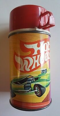 Hot Wheels - 1969 metal THERMOS with green racecar - #2804 - good condition!