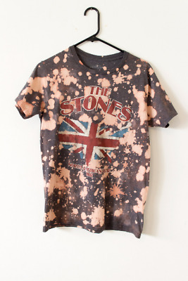 Bleached Rolling Stones North American Tour 1981 Hand-Dyed Bleached Basic Tee