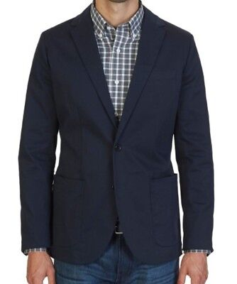 Nautica Solid Double Navy Blue Two Button Sport Coat Mens Size Large Reticket