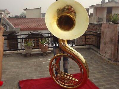 """Sousaphone 25"""" Bell Professional Big Jumbo Size Of Pure Brass W/free Case & Mp"""