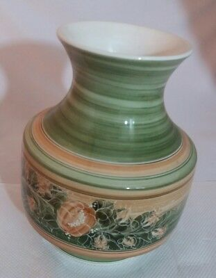 Vintage Jersey Pottery  Flower Vase Stripes and Floral