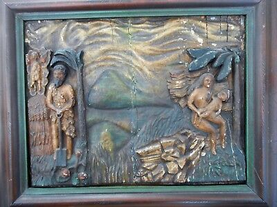IMPORTANT AND RARE 17THc.  CARVED WOODEN PANELADAM& EVE WITH BABY KANE IN NOD.