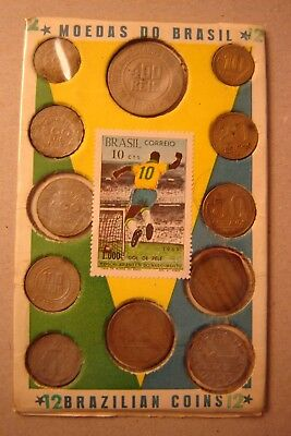 Unusual Brazil Coin Set of 12 (various years) with 1969 Pele Stamp