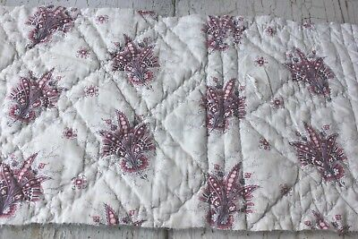 Antique  French printed quilted c 1820 Indienne design fabric material
