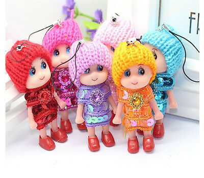 2x Baby Doll w/Knit Hat Charm Phone Car Bag Key Ring keyrings Paillette Dress *J