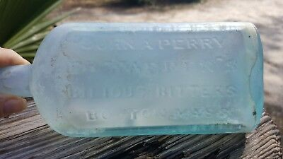 vintage dr. warrens bilious bitters bottle. boston mass