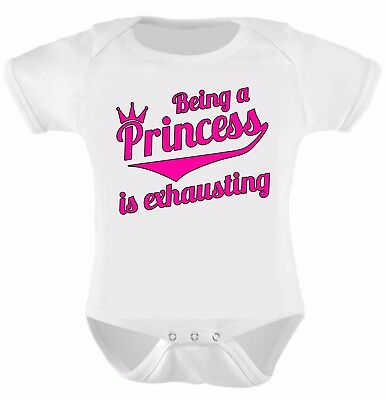 Slogan Baby Romper Being A Princess Is Exhausting. Funny Bodysuits Grow Vest.