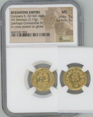ANCIENT BYZANTINE gold semissis Constans II NGC MINT STATE
