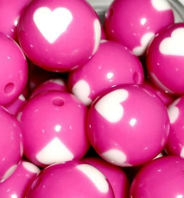 10 pieces 20mm hot pink heart print chunky bubblegum beads DIY necklace