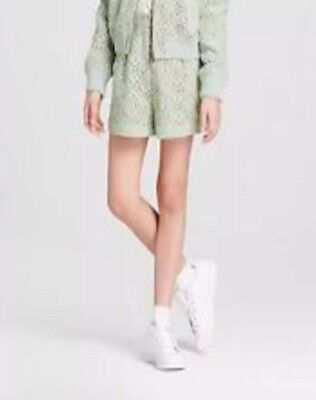 Victoria Beckham For Target Girl's Mint Green Pleated Lace Shorts Size Medium