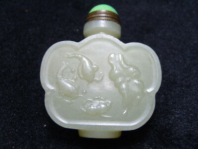 Chinese Exquisite Hand-carved  jade snuff bottle          1