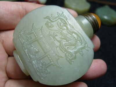 Chinese Exquisite Hand-carved  jade snuff bottle          2