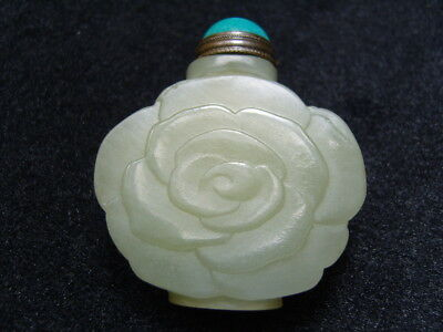 Chinese Exquisite Hand-carved  jade snuff bottle          3