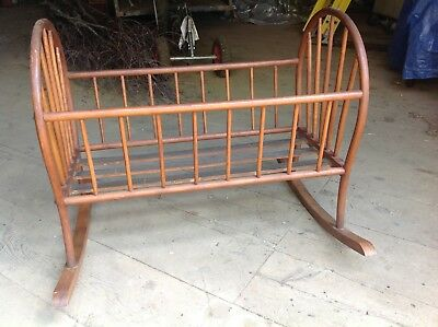 Antique Jenny Lind Baby Cradle, stained walnut