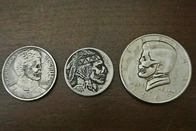 Lot of (3) Different Hand Carved Hobo Nickel Coins Peso Half Dollar Buffalo