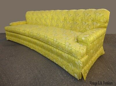 Vintage Mid Century Hollywood Regency Chartreuse Floral Sofa ~ Curved Front