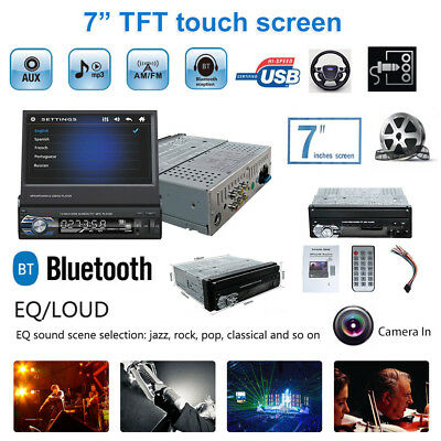 "1 Din 7"" Touch Screen FM Bluetooth Radio Audio Stereo Car Video Player+HD Camera"
