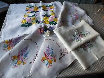 Vintage Hand Embroidered Linen Tablecloths X 4 - All Beautiful Designs
