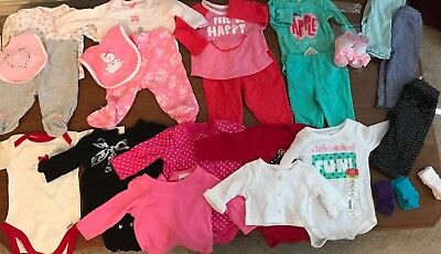 Baby Girl Winter Clothes Lot of 27 pcs,  0-3 months, Newborn, Outfits, Sleepers