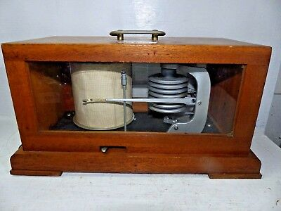 Good Quality Old German Barograph In Wooden Case - L@@k