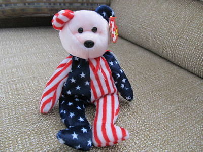 TY Beanie Babies SPANGLE Bear Pink Face Retired 1999