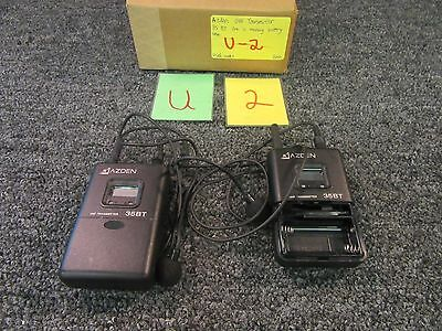 2 Azden Uhf Transmitter 35Bt Wireless Receiver Microphone Body Pack Used
