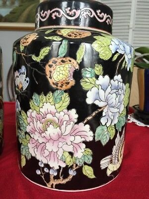 Large Pair Of Vintage Hand Painting porcelain Jars with lids  High 10 Inch
