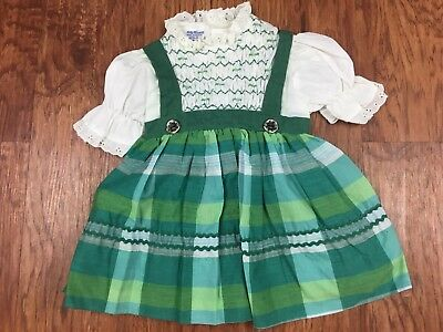 Sweet Vintage Polly Flinders Green Plaid Hand Smocked Dress w/ Lace Collar 2T