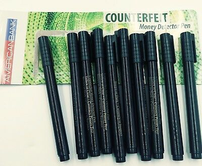 LOT 10 Counterfeit Money Detector Pen Marker Fake Dollar Bill Currency Check