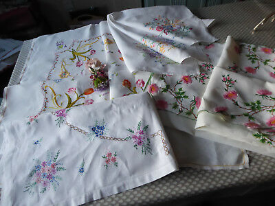 Vintage Hand Embroidered Linen Tablecloths X 4 - All Lovely Designs.