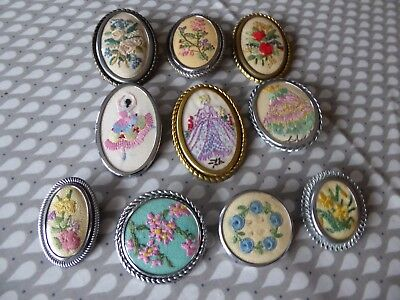 Vintage Hand Embroidered Brooches/set Of 10 Beautiful Embroidered Pins/brooches