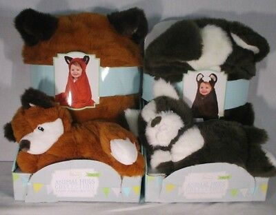 Little Miracles Animal Hugs Collection Hooded Blanket with Plush 2-Piece Set