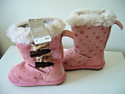 Bnwt Next Pink Suede Boots Uk Infant 3, Warm Lined, Faux Fur Trim