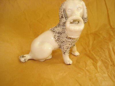 Porcelain Dog Figurine Sand SPANIEL WITH BASKET Mini 2.5 x 3.5