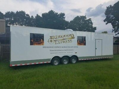 Mobile Escape Room Trailer 3 axled climate controlled 50amp 2 rooms with office