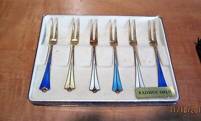 1 set of Qty 6 David Andersen DA Enamel Forks 925 Norway Sterling Silver in box