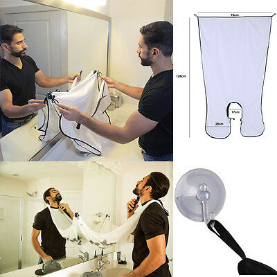 Men Beard Shave Apron Cape Gather Cloth Bib Facial Hair Whisker Trimming Catcher