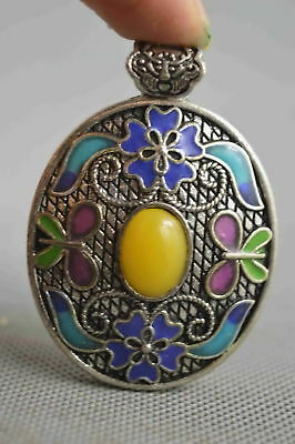 Fine Collectable Handwork Miao Silver Carve Flower Inlay Agate Lucky Pendant