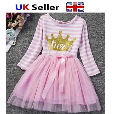 Baby Girl second 2nd Birthday Outfit Tutu Skirt Dress Pink Cake Smash Party
