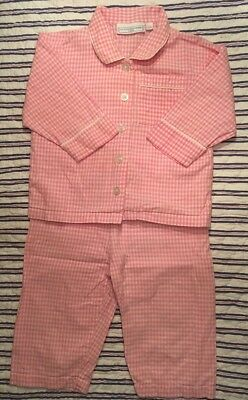 Little White Company Age 12-18m Girl's Pink Gingham Traditional Pyjamas • VGC
