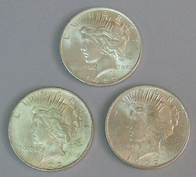 1922 Silver Peace Dollar Lot Of 3