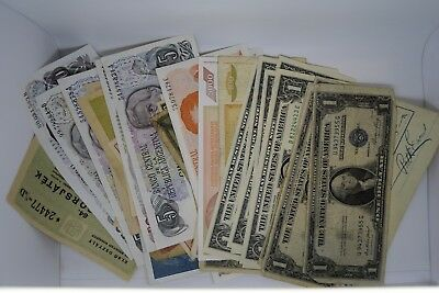over 50 world banknotes includes 4 usa 1935 silver certificates 5 unc dollar bil