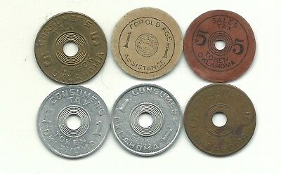 A Vintage Very Nice Lot Of 6 Oklahoma Sales Tax /consumer Tax Tokens-Dec217