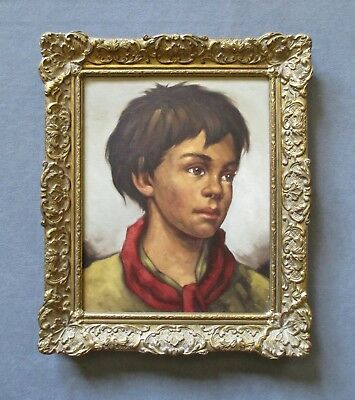 Vintage Young Boy Oil Portrait Painting