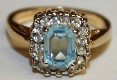 Princess Cut Aquamarine Solitaire Ring Clear Rhinestone Accents Size 5.5 Gold