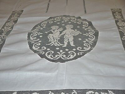 Antique Vintage Italian Linen Figural Lace Bed Cover Fabric Bedspread Angels