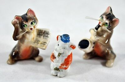 Vintage Lot of Retro Ceramic Cat Figures Pig Musical Cats Playing Instruments